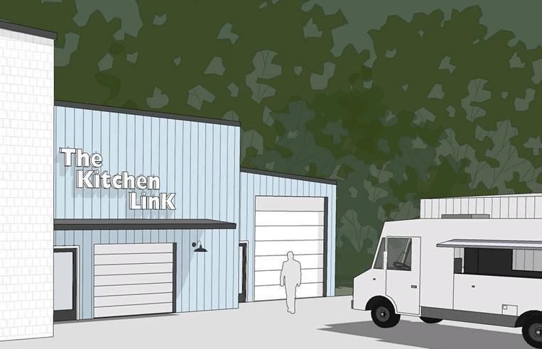 artist render of storefront at Kitchen LinK