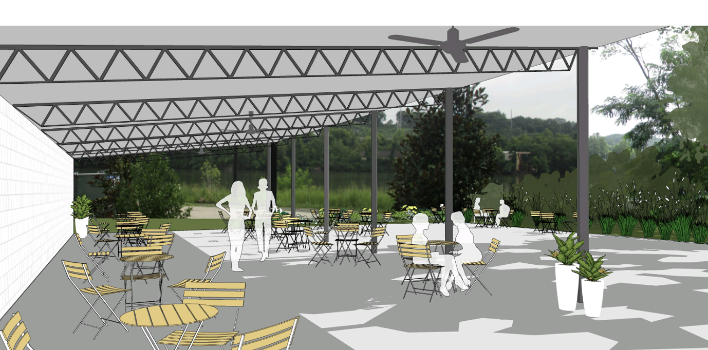 artist render of covered seating at Kitchen LinK
