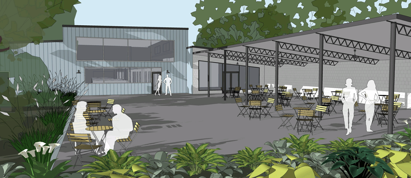 artist render of outdoor seating at Kitchen LinK